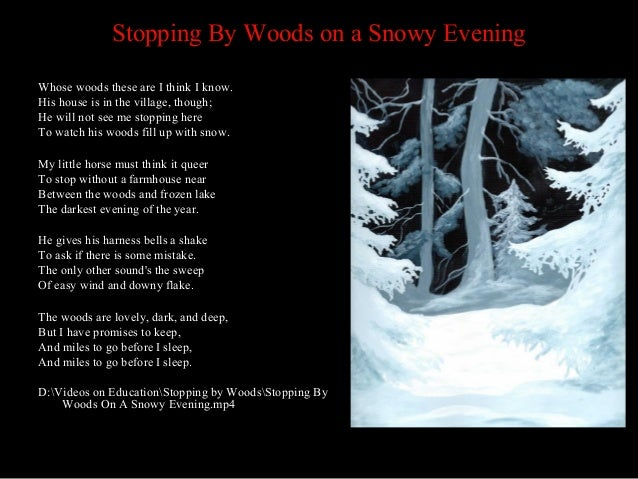 an analysis of the poem stopping by the woods on a snowy evening by robert frost Stopping by woods on a snowy evening he will not see me stopping here to watch his woods fill up with snow video of robert frost reciting this poem.