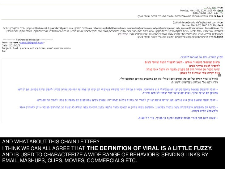 AND WHAT ABOUT THIS CHAIN LETTER?…. I THINK WE CAN ALL AGREE THAT THE DEFINITION OF VIRAL IS A LITTLE FUZZY. AND IS USED T...