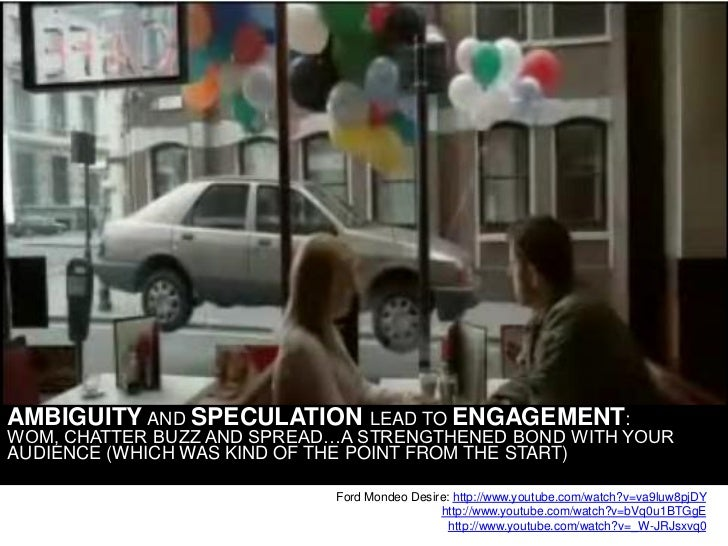 AMBIGUITY AND SPECULATION         LEAD TO ENGAGEMENT: WOM, CHATTER BUZZ AND SPREAD…A STRENGTHENED BOND WITH YOUR AUDIENCE ...