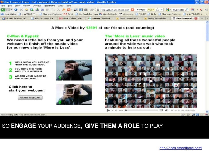 SO ENGAGE YOUR AUDIENCE, GIVE THEM A ROLE TO PLAY                                                    http://oneframeoffame...