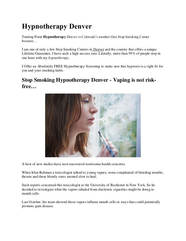 Hypnotherapy Denver Turning Point Hypnotherapy Denver is Colorado's number One Stop Smoking Center because… I am one of on...