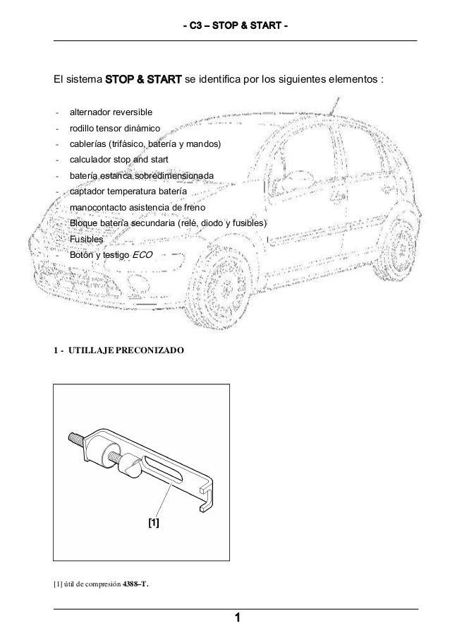 - C3 – STOP & START -  El sistema STOP & START se identifica por los siguientes elementos : -  alternador reversible  -  r...