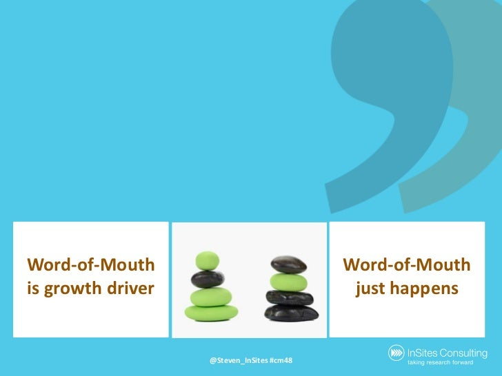 Word-of-Mouth is growthdriver<br />Word-of-Mouthjust happens<br />@Steven_InSites #cm48<br />