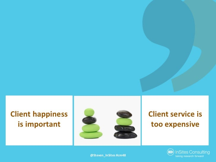 Clienthappiness is important<br />Client service is tooexpensive<br />@Steven_InSites #cm48<br />
