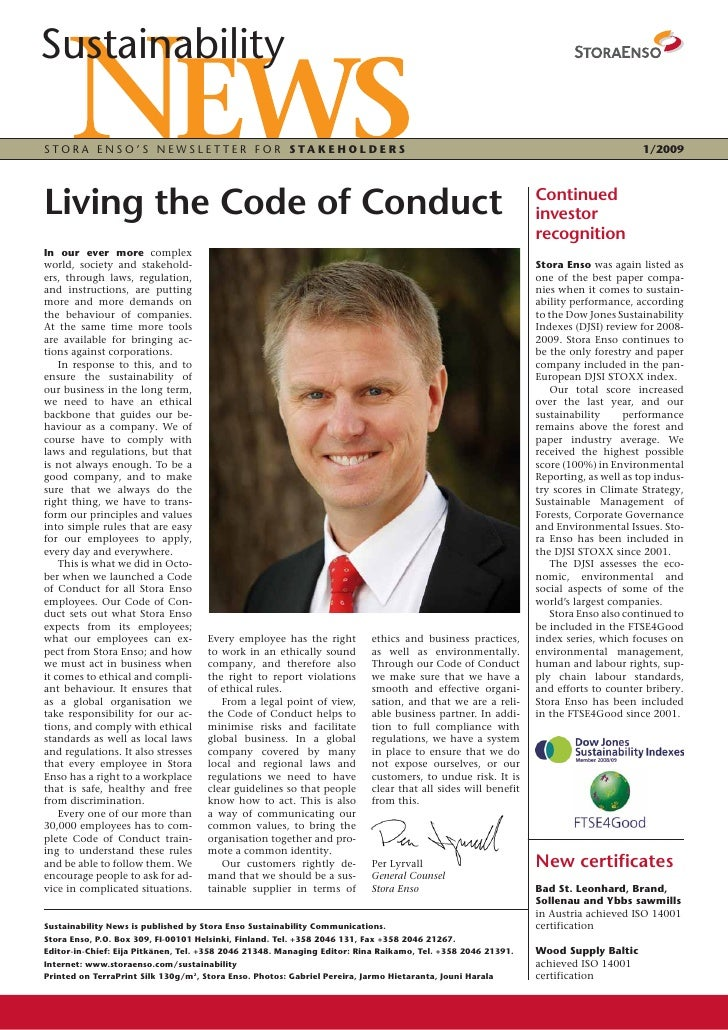 Sustainability  STORA ENSO'S NEWSLETTER FOR STAKEHOLDERS                                                                  ...