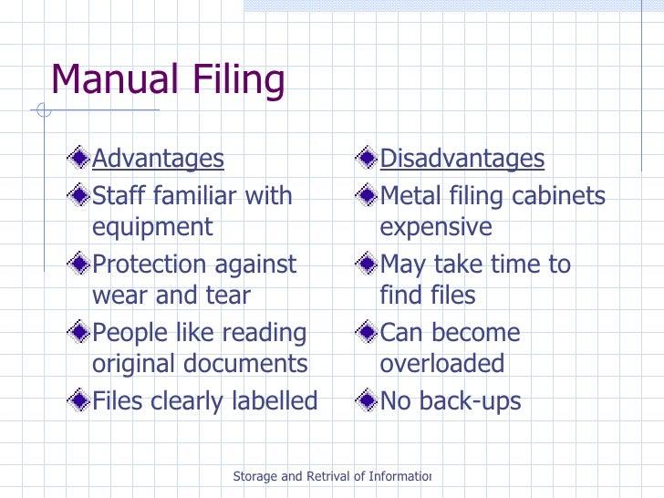 advantages of a manual filing system