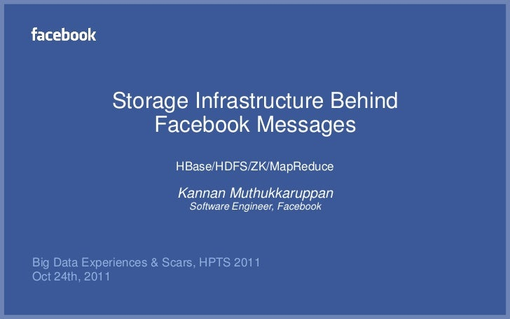 Storage Infrastructure Behind                 Facebook Messages                        HBase/HDFS/ZK/MapReduce            ...