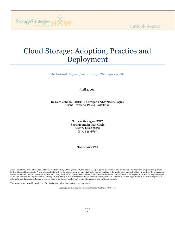 Cloud Storage: Adoption, Practice and                           Deployment                                              An...