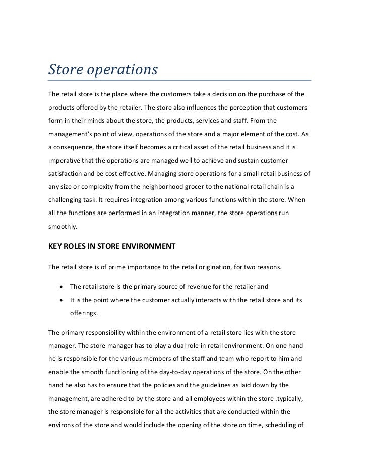 store operations rh slideshare net Customer Service Operations Manual Sample retail shop operations manual example