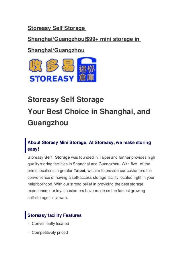 Storeasy Self StorageShanghai/Guangzhou|$99+ mini storage inShanghai/GuangzhouStoreasy Self StorageYour Best Choice in Sha...