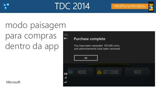 modo paisagem para compras dentro da app WinPhone/Win8DevTDC 2014