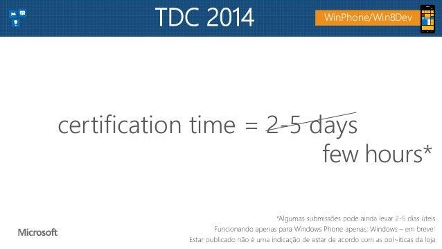 certification time = 2-5 days few hours* WinPhone/Win8DevTDC 2014