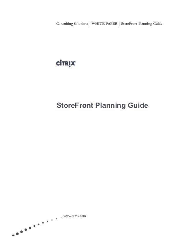 Citrix Store Front Planning Guide