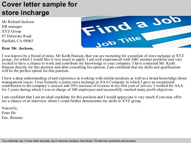 Store Incharge Cover Letter