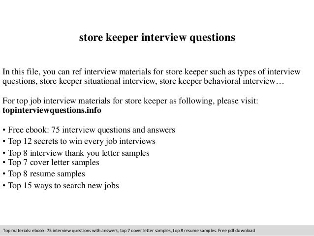 Store Keeper Interview Questions