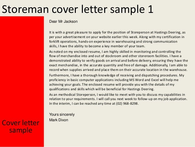 Storeman cover letter for Storeperson cover letter