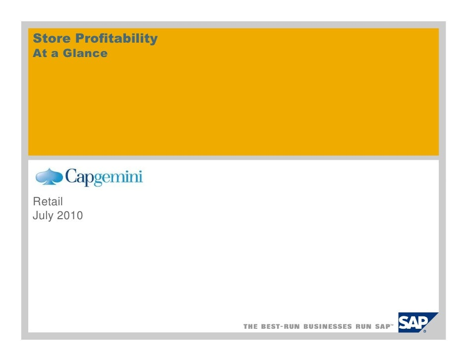 Store Profitability At a Glance     Retail July 2010