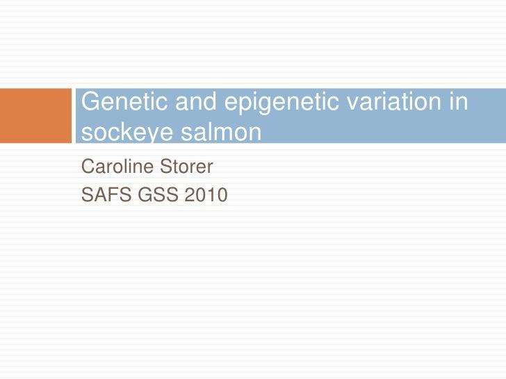 Caroline Storer<br />SAFS GSS 2010<br />Genetic and epigenetic variation in sockeye salmon<br />
