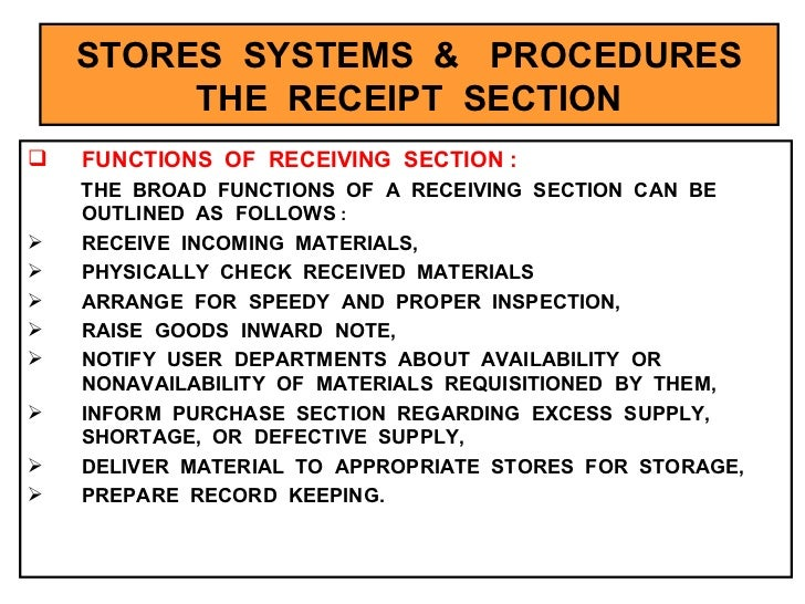 stores management and stock control notes pdf