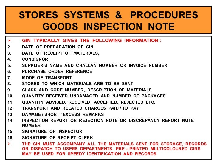 Stores Management – Goods Received Note Format