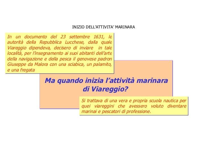 INIZIO DELL'ATTIVITA' MARINARA Ma quando inizia l'attività marinara  di Viareggio?  In un documento del 23 settembre 1631,...