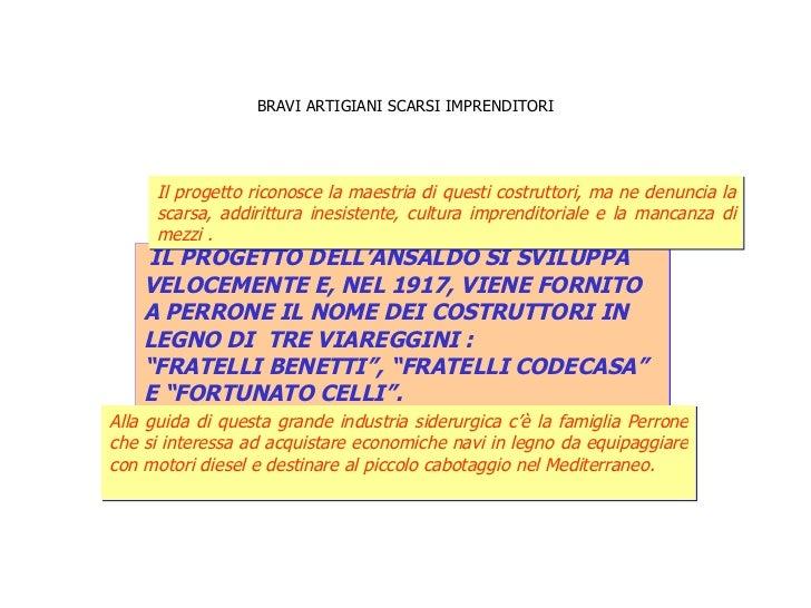 BRAVI ARTIGIANI SCARSI IMPRENDITORI IL PROGETTO DELL'ANSALDO SI SVILUPPA  VELOCEMENTE E, NEL 1917, VIENE FORNITO  A PERRON...