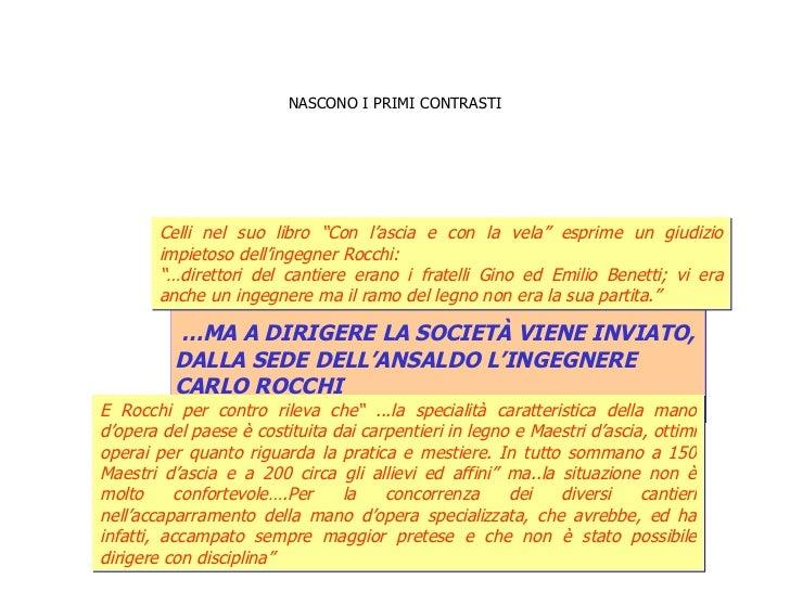 NASCONO I PRIMI CONTRASTI … MA A DIRIGERE LA SOCIETÀ VIENE INVIATO,  DALLA SEDE DELL'ANSALDO L'INGEGNERE  CARLO ROCCHI  Ce...