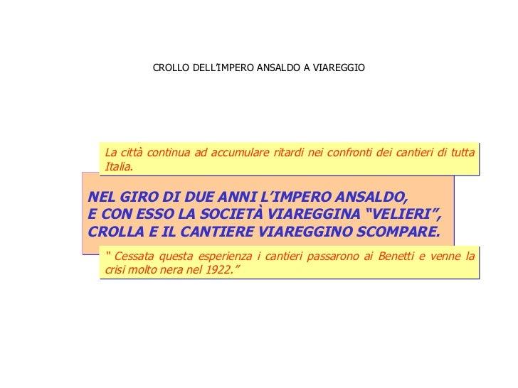 """CROLLO DELL'IMPERO ANSALDO A VIAREGGIO NEL GIRO DI DUE ANNI L'IMPERO ANSALDO,  E CON ESSO LA SOCIETÀ VIAREGGINA """"VELIERI"""",..."""