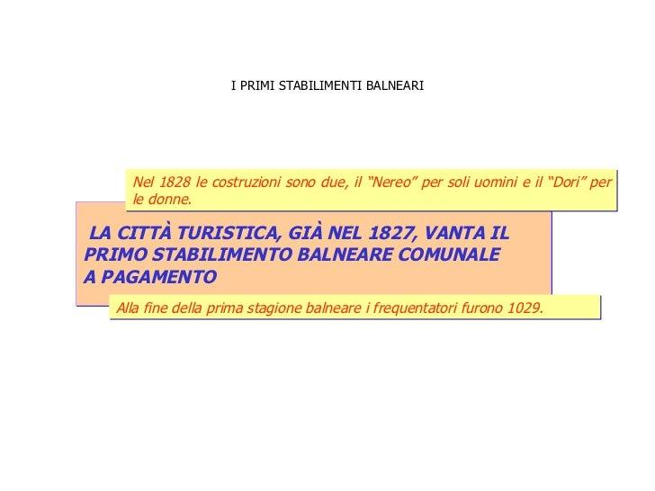 I PRIMI STABILIMENTI BALNEARI LA CITTÀ TURISTICA, GIÀ NEL 1827, VANTA IL  PRIMO STABILIMENTO BALNEARE COMUNALE  A PAGAMENT...