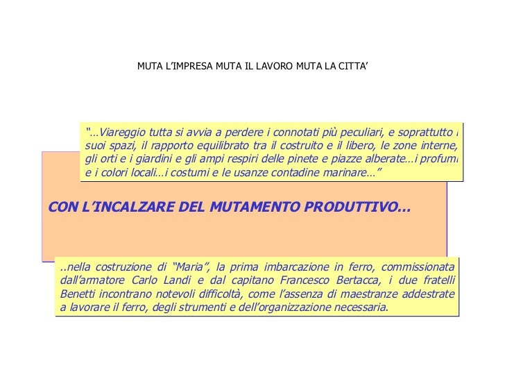 """MUTA L'IMPRESA MUTA IL LAVORO MUTA LA CITTA' CON L'INCALZARE DEL MUTAMENTO PRODUTTIVO… """"… Viareggio tutta si avvia a perde..."""