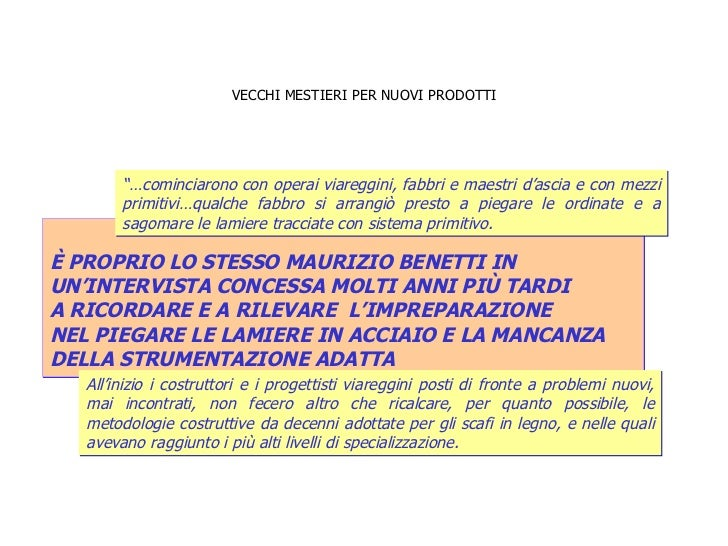 VECCHI MESTIERI PER NUOVI PRODOTTI È PROPRIO LO STESSO MAURIZIO BENETTI IN  UN'INTERVISTA CONCESSA MOLTI ANNI PIÙ TARDI A ...