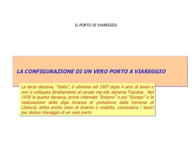 """IL PORTO DI VIAREGGIO LA CONFIGURAZIONE DI UN VERO PORTO A VIAREGGIO  La terza darsena, """"Italia"""", è ultimata nel 1907 dopo..."""