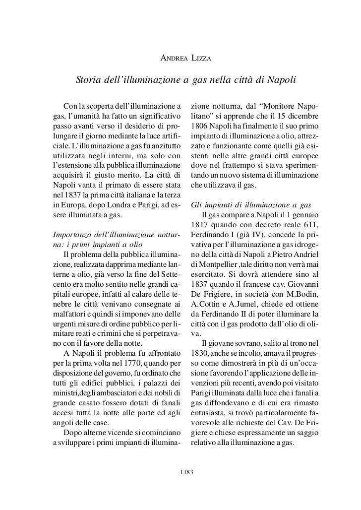 Storia dell'illuminazione a gas nella città di Napoli                                      ANDREA LIZZA       Storia dell'...