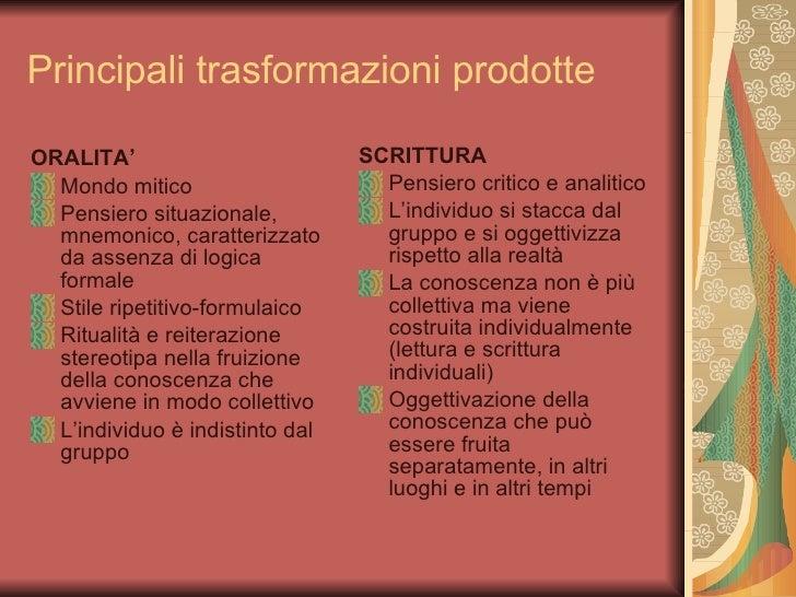 Principali trasformazioni prodotte <ul><li>ORALITA' </li></ul><ul><li>Mondo mitico </li></ul><ul><li>Pensiero situazionale...