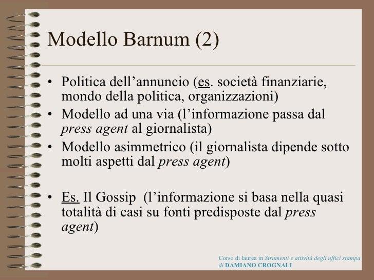 Modello Barnum (2) <ul><li>Politica dell'annuncio ( es . società finanziarie, mondo della politica, organizzazioni) </li><...