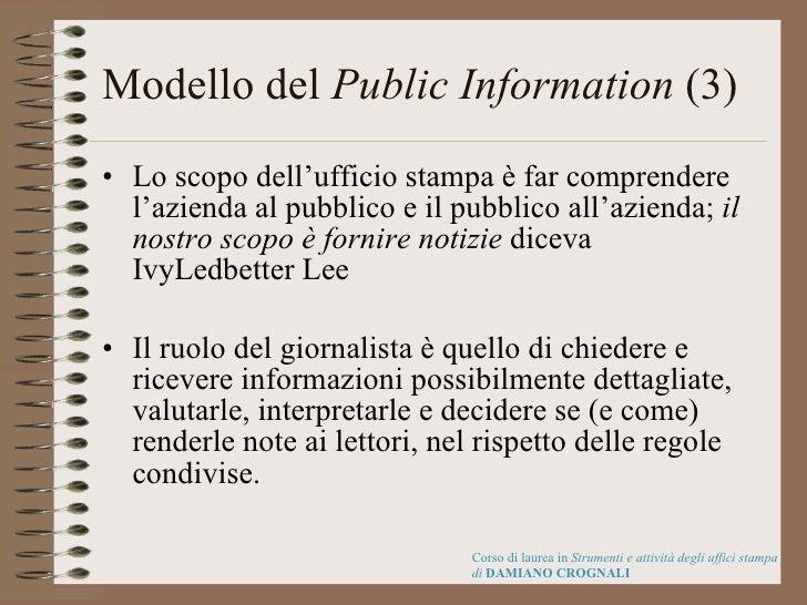 Modello del  Public Information  (3) <ul><li>Lo scopo dell'ufficio stampa è far comprendere l'azienda al pubblico e il pub...