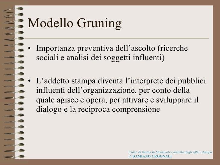 Modello Gruning <ul><li>Importanza preventiva dell'ascolto (ricerche sociali e analisi dei soggetti influenti) </li></ul><...