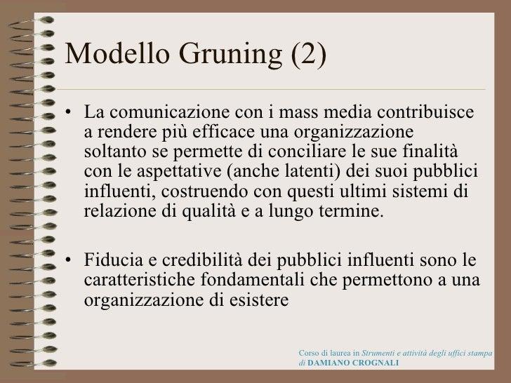 Modello Gruning (2) <ul><li>La comunicazione con i mass media contribuisce a rendere più efficace una organizzazione solta...