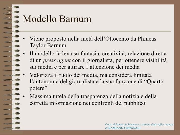 Modello Barnum <ul><li>Viene proposto nella metà dell'Ottocento da Phineas Taylor Barnum </li></ul><ul><li>Il modello fa l...