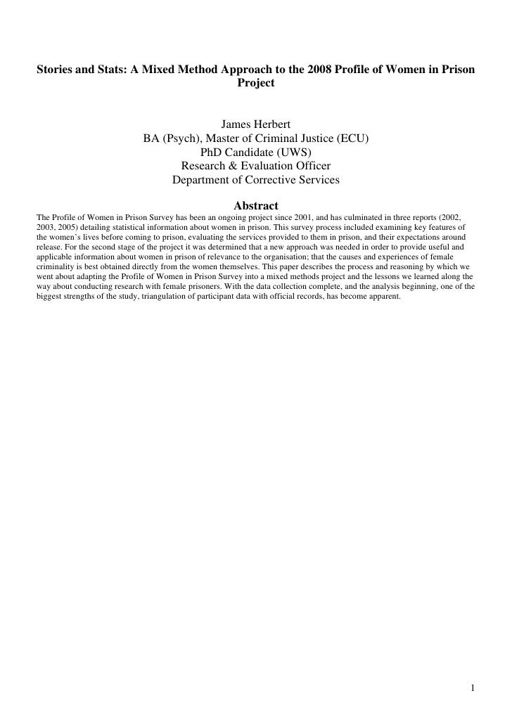 Stories and Stats: A Mixed Method Approach to the 2008 Profile of Women in Prison                                     Proj...
