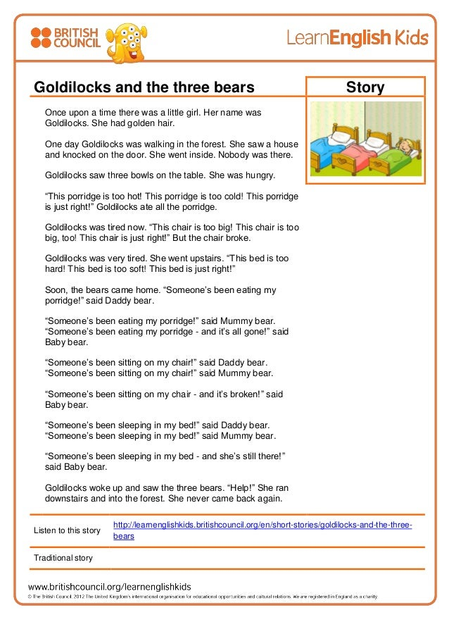 Stories goldilocks and the three bears transcript