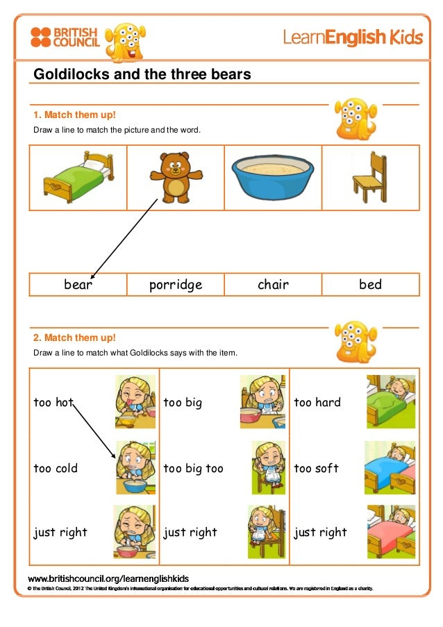 Goldilocks And The Three Bears Worksheet on Goldilocks And Three Bears