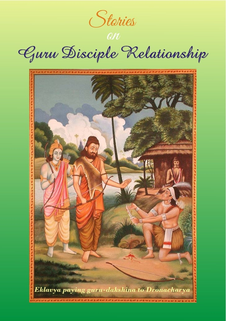 Stories                  onGuru Disciple Relationship  Eklavya paying guru-dakshina to Dronacharya