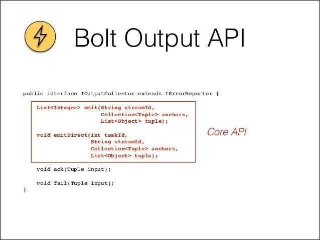 Bolt Output API public interface IOutputCollector extends IErrorReporter {! ! List<Integer> emit(String streamId, ! Collec...