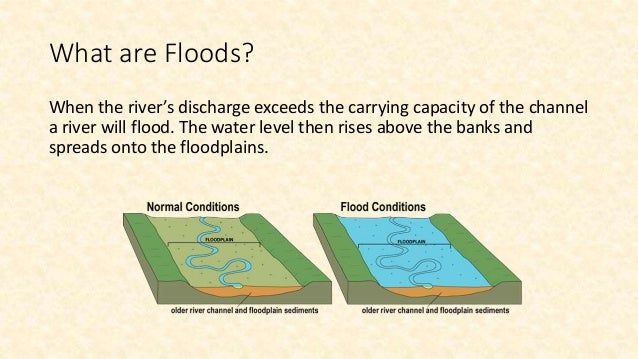What are Floods? When the river's discharge exceeds the carrying capacity of the channel a river will flood. The water lev...
