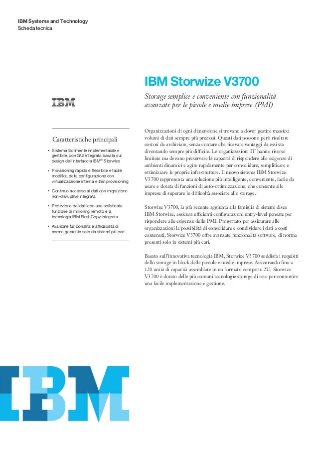 IBM Systems and TechnologyScheda tecnica                                                                   IBM Storwize V3...