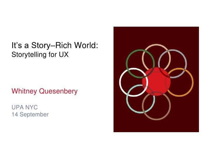 It's a Story–Rich World:Storytelling for UX<br />Whitney Quesenbery<br />UPA NYC<br />14 September<br />
