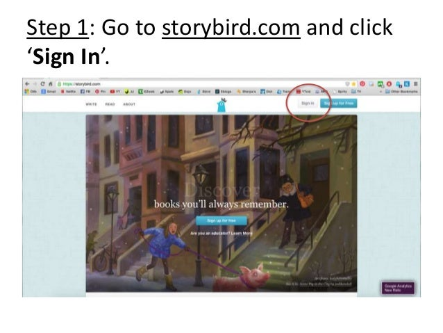 Step 1: Go to storybird.com and click 'Sign In'.