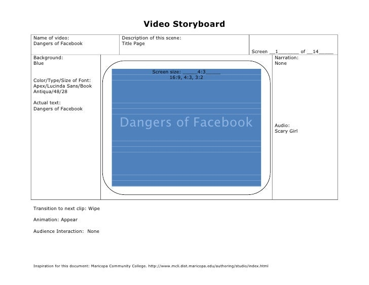 Video StoryboardName of video:                               Description of this scene:Dangers of Facebook                ...