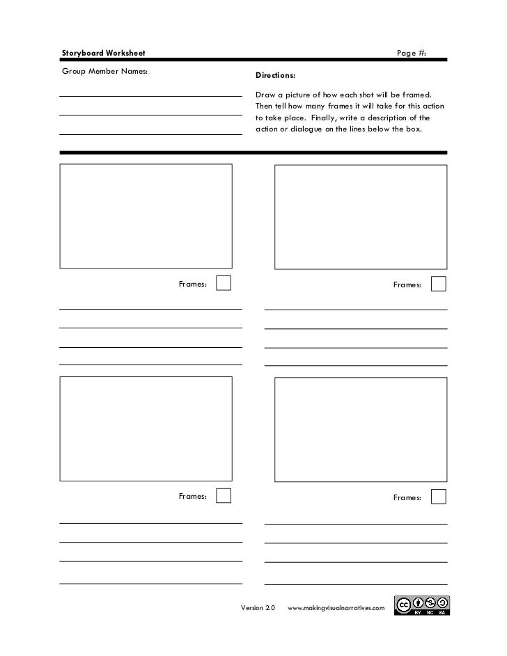 Making Visual Narratives Storyboard Worksheet Pdf